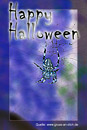 Halloween-Karte, Spinne, Spinnennetz, Text: Happy Halloween