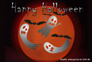 Halloween-Karte, Fledermäuse, Geister, Text: Happy Halloween
