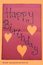 Geburtstagskarte, Herzen, Papier, Text: Happy Birthday
