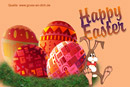 Osterkarte, Eier, Hase, Ostereier, Text: Happy Easter