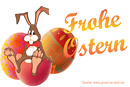 Ostergrußkarte, Cartoons, Hase, Ostereier, Text: Frohe Ostern