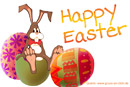 Osterkarte, Eier, Ostereier, Osterhase, Text: Happy Easter