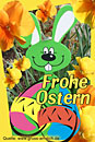 Ostergrußkarte, Osterei, Osterhase, Text: Frohe Ostern