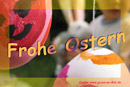 Ostergrußkarte, Eier, Hase, Kind, Text: Frohe Ostern