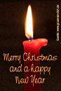 Weihnachtskarte, Kerze, Text: Merry Christmas and a happy New Year