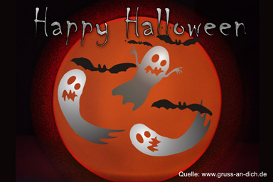 Halloween-Postkarte, Fledermäuse, Geister, Text: Happy Halloween
