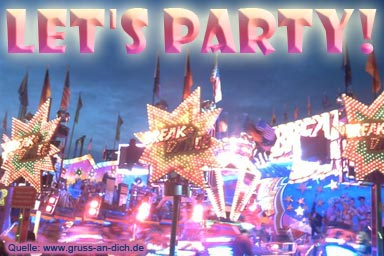 Einladungskarte, Kirmes, Text: Let's Party!