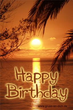 Geburtstagskarte, Meer, Sonnenaufgang, Text: Happy Birthday