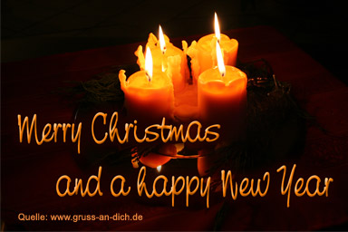 Weihnachtskarte, Kerzen, Text: Merry Christmas and a happy New Year